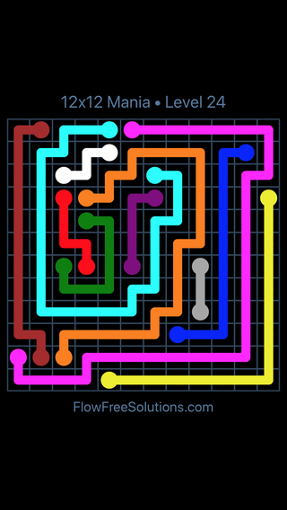 Solution and Answer to the Puzzle for Flow Free 12x12 Mania Level 24