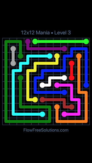 Solution and Answer to the Puzzle for Flow Free 12x12 Mania Level 3