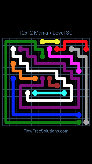 Solution and Answer to the Puzzle for Flow Free 12x12 Mania Level 30