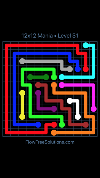 Solution and Answer to the Puzzle for Flow Free 12x12 Mania Level 31