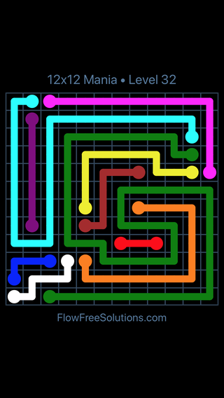 Solution and Answer to the Puzzle for Flow Free 12x12 Mania Level 32