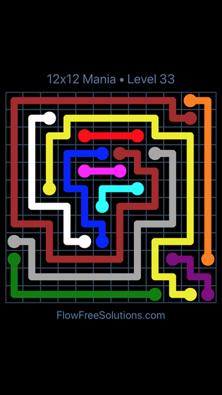 Solution and Answer to the Puzzle for Flow Free 12x12 Mania Level 33