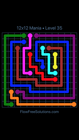 Solution and Answer to the Puzzle for Flow Free 12x12 Mania Level 35