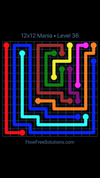 Solution and Answer to the Puzzle for Flow Free 12x12 Mania Level 36