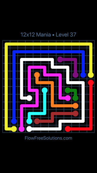 Solution and Answer to the Puzzle for Flow Free 12x12 Mania Level 37