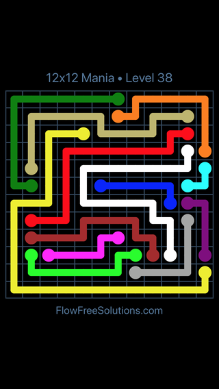 Solution and Answer to the Puzzle for Flow Free 12x12 Mania Level 38
