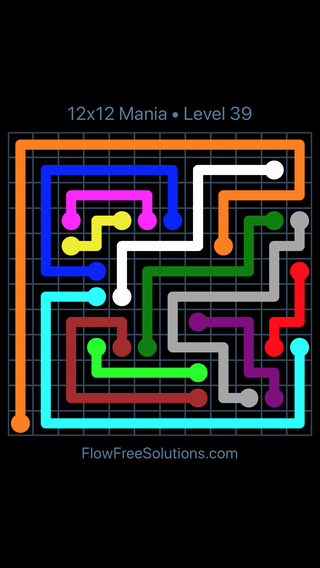 Solution and Answer to the Puzzle for Flow Free 12x12 Mania Level 39