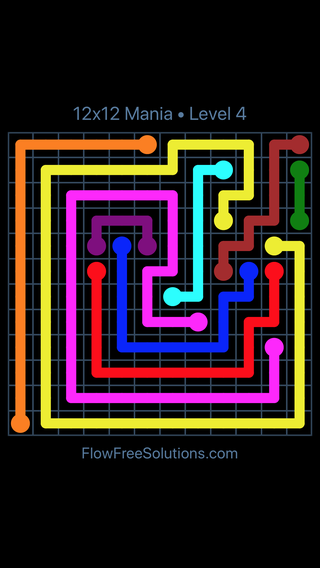 Solution and Answer to the Puzzle for Flow Free 12x12 Mania Level 4