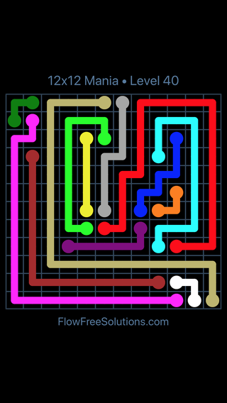 Solution and Answer to the Puzzle for Flow Free 12x12 Mania Level 40