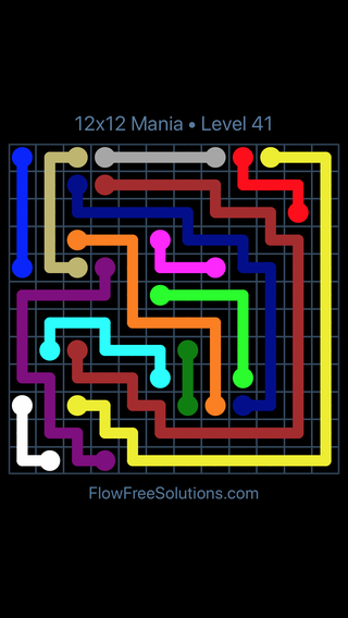 Solution and Answer to the Puzzle for Flow Free 12x12 Mania Level 41