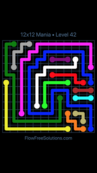 Solution and Answer to the Puzzle for Flow Free 12x12 Mania Level 42