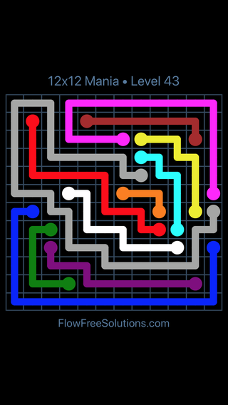 Solution and Answer to the Puzzle for Flow Free 12x12 Mania Level 43
