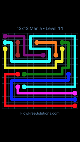 Solution and Answer to the Puzzle for Flow Free 12x12 Mania Level 44