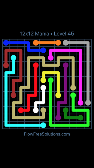 Solution and Answer to the Puzzle for Flow Free 12x12 Mania Level 45