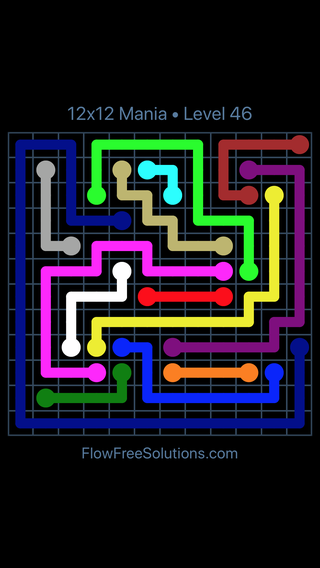 Solution and Answer to the Puzzle for Flow Free 12x12 Mania Level 46