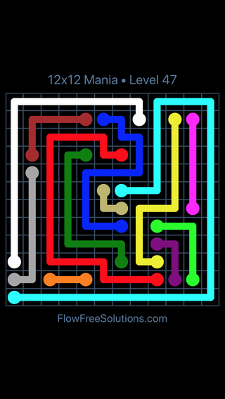 Solution and Answer to the Puzzle for Flow Free 12x12 Mania Level 47
