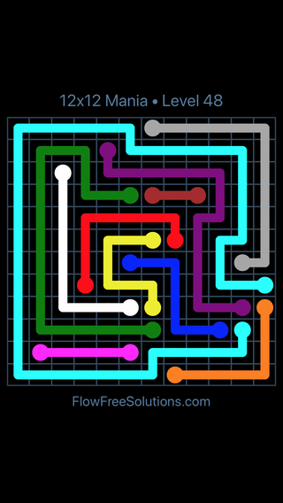 Solution and Answer to the Puzzle for Flow Free 12x12 Mania Level 48