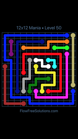 Solution and Answer to the Puzzle for Flow Free 12x12 Mania Level 50