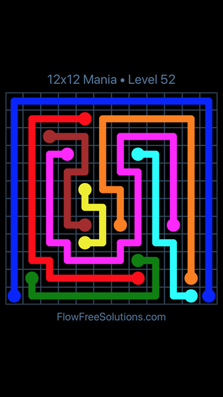 Solution and Answer to the Puzzle for Flow Free 12x12 Mania Level 52