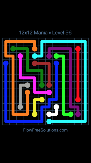 Solution and Answer to the Puzzle for Flow Free 12x12 Mania Level 56