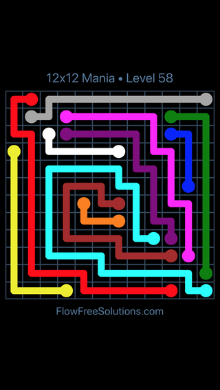 Solution and Answer to the Puzzle for Flow Free 12x12 Mania Level 58