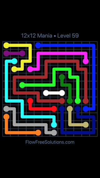 Solution and Answer to the Puzzle for Flow Free 12x12 Mania Level 59