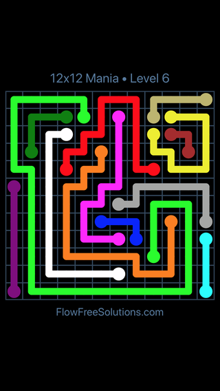 Solution and Answer to the Puzzle for Flow Free 12x12 Mania Level 6