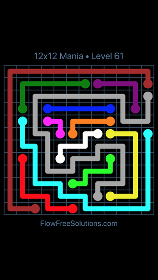 Solution and Answer to the Puzzle for Flow Free 12x12 Mania Level 61