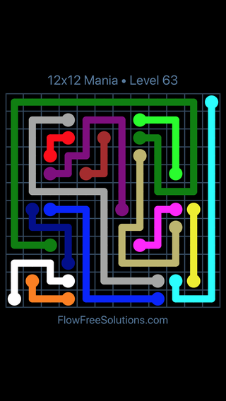Solution and Answer to the Puzzle for Flow Free 12x12 Mania Level 63