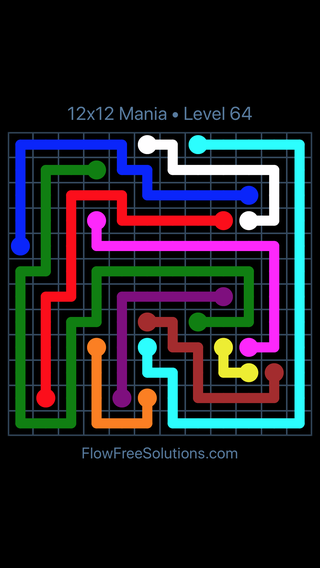Solution and Answer to the Puzzle for Flow Free 12x12 Mania Level 64