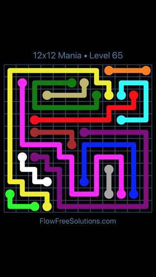 Solution and Answer to the Puzzle for Flow Free 12x12 Mania Level 65