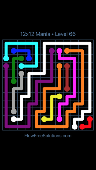 Solution and Answer to the Puzzle for Flow Free 12x12 Mania Level 66
