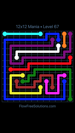 Solution and Answer to the Puzzle for Flow Free 12x12 Mania Level 67