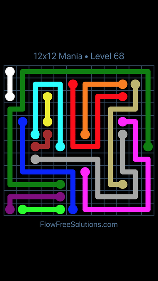 Solution and Answer to the Puzzle for Flow Free 12x12 Mania Level 68