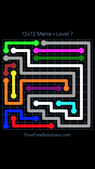 Solution and Answer to the Puzzle for Flow Free 12x12 Mania Level 7