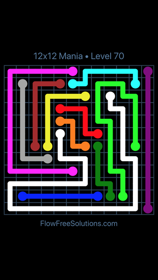 Solution and Answer to the Puzzle for Flow Free 12x12 Mania Level 70