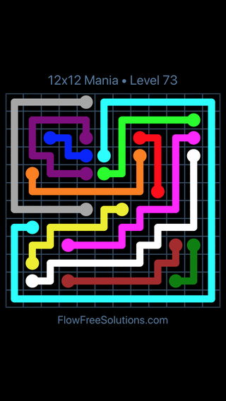 Solution and Answer to the Puzzle for Flow Free 12x12 Mania Level 73