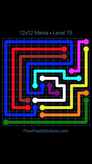 Solution and Answer to the Puzzle for Flow Free 12x12 Mania Level 75