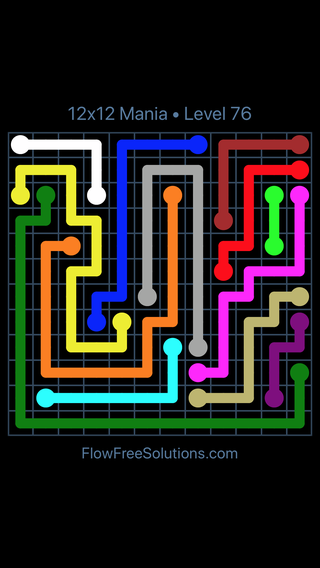 Solution and Answer to the Puzzle for Flow Free 12x12 Mania Level 76