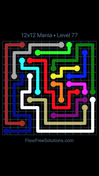 Solution and Answer to the Puzzle for Flow Free 12x12 Mania Level 77