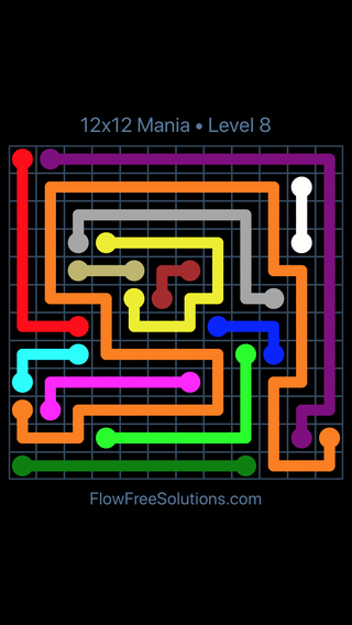 Solution and Answer to the Puzzle for Flow Free 12x12 Mania Level 8