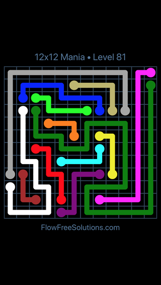 Solution and Answer to the Puzzle for Flow Free 12x12 Mania Level 81