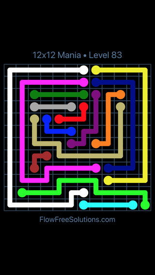 Solution and Answer to the Puzzle for Flow Free 12x12 Mania Level 83
