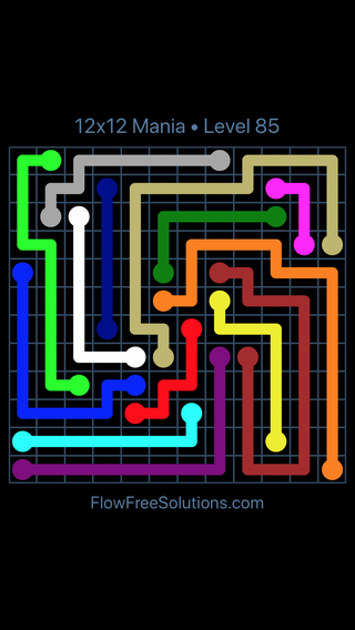 Solution and Answer to the Puzzle for Flow Free 12x12 Mania Level 85