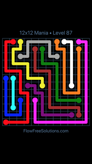 Solution and Answer to the Puzzle for Flow Free 12x12 Mania Level 87