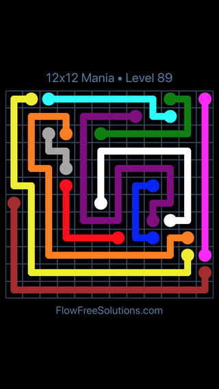 Solution and Answer to the Puzzle for Flow Free 12x12 Mania Level 89