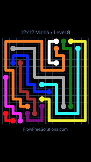 Solution and Answer to the Puzzle for Flow Free 12x12 Mania Level 9