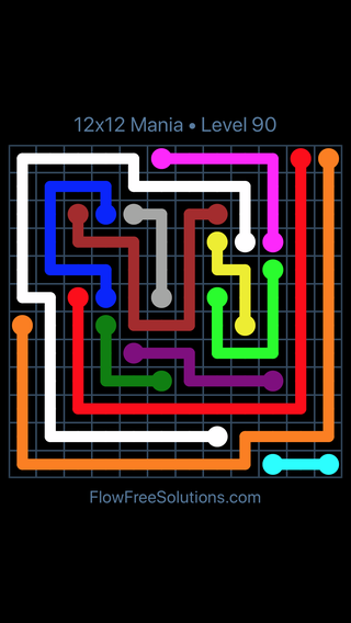 Solution and Answer to the Puzzle for Flow Free 12x12 Mania Level 90