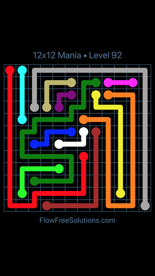 Solution and Answer to the Puzzle for Flow Free 12x12 Mania Level 92