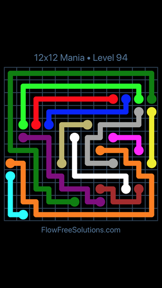 Solution and Answer to the Puzzle for Flow Free 12x12 Mania Level 94